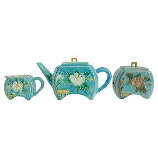 Antique Majolica Tea Set - Set of 3