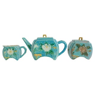 Antique Majolica Tea Set - Set of 3