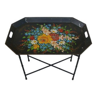 Chinoiserie Tole Tray Folding Side Table
