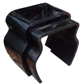 Mid-Century Black Acrylic Nesting Tables - A Pair
