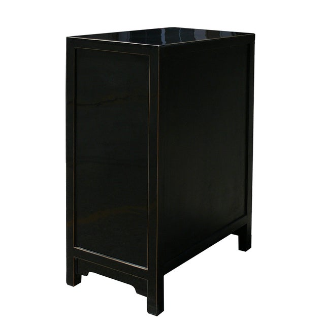 Chinese Black Lacquer 5 Drawer Chest Cabinet - Image 4 of 4