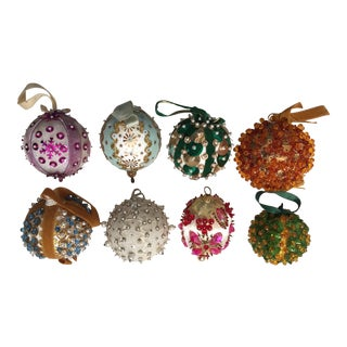 Vintage Beaded Hand Made Christmas Ornaments - Set of 8