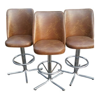 Douglas Vintage Mid-Century Modern Fawn & Chrome Bar Stools - Set of 3