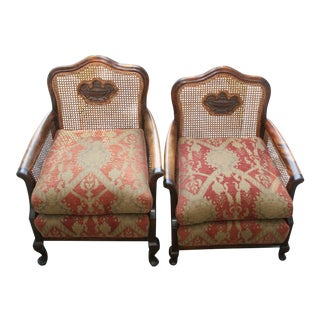 Edwardian Style Bergere Arm Chairs - A Pair