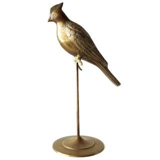 Vintage Brass Bird on Perch