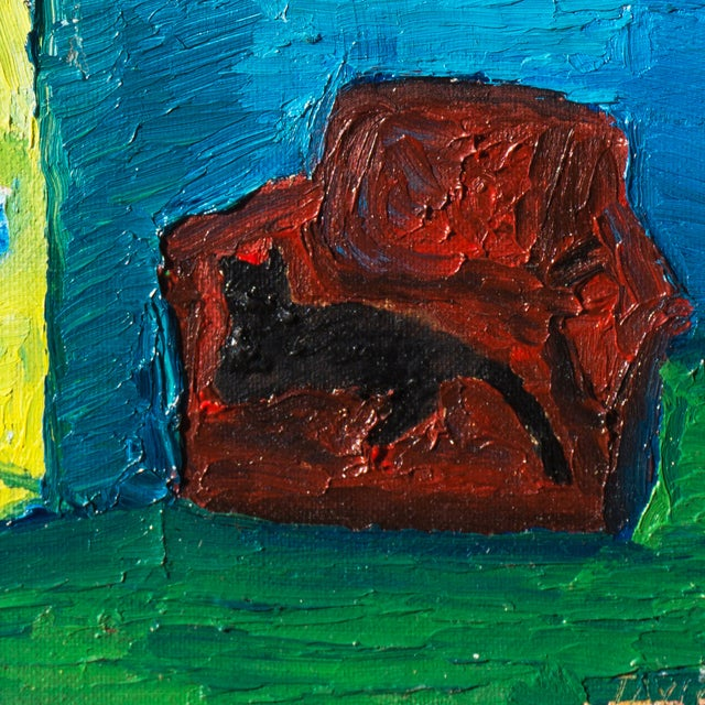Jonathan Taylor Black Cat on Red Chair Painting - Image 3 of 4