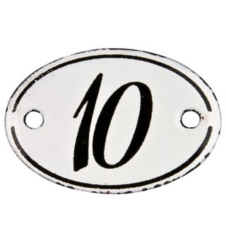 French Enamel Hotel Number 10 Sign