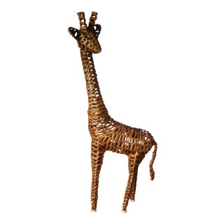 Large Vintage Wicker/Rattan Giraffe