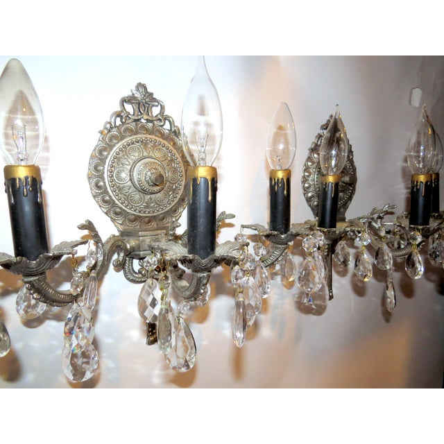Image of Mid-Century Nickel Candelabra Sconces - A Pair