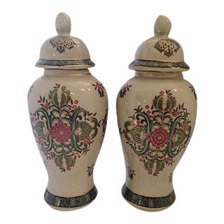 Pink & Green Ginger Jars - A Pair