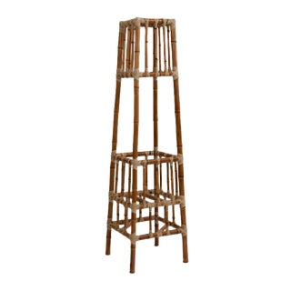 Woven Faux Bamboo Plant Stand