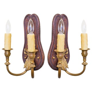 Pair of French Wood and Brass Two-Arm Sconces with Bow, Circa 1900