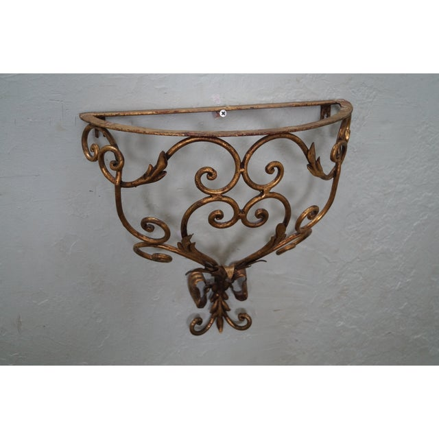 Italian Gilt Metal Marble Top Demilune Console - Image 9 of 10