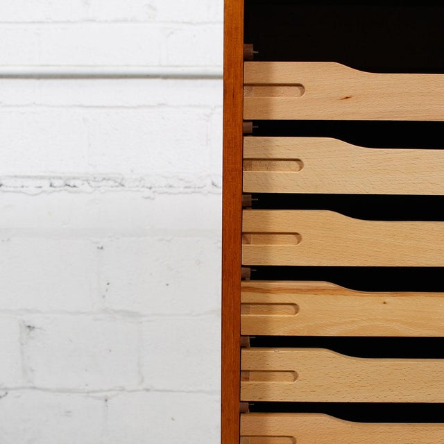 Tall Teak Locking Tambour Door Jewelry Cabinet - Image 9 of 9