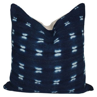 Vintage African Indigo Blue Mud Cloth Pillow