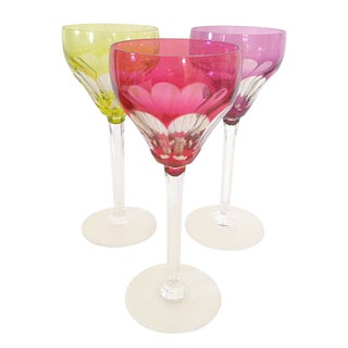 Jewel Crystal Cut Wine Glasses - Set of 3