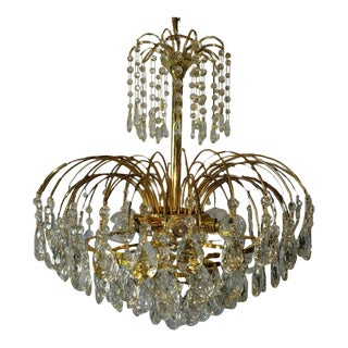 Mid-Century Crystal & Brass Plated Spider Chandelier