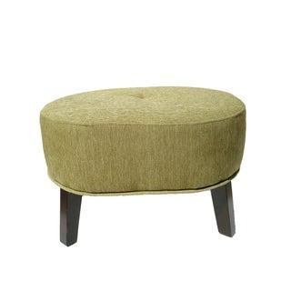Chartreuse & Wood Leg Ottoman