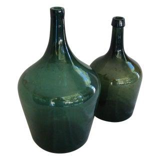 French Handblown Demijohn Bottles - Pair