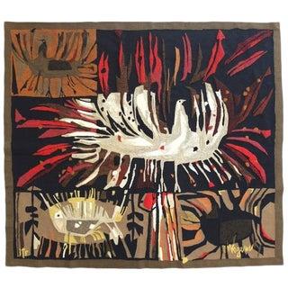 "Robert Wogensky Tapestry ""L'oiseau Blanc"" in Polychrome Wool, Paris, circa 1965"