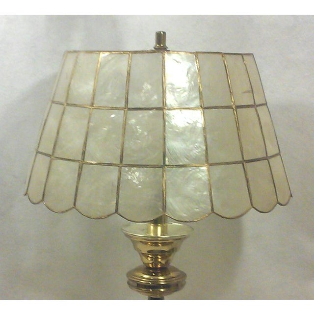 Brass Table Lamp With Capiz Shell Shade Chairish