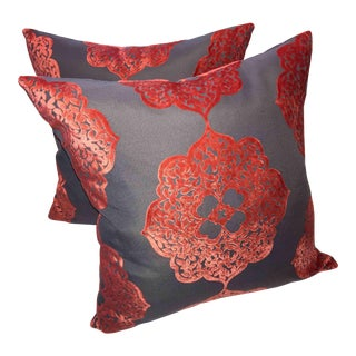Red and Latte Moroccan Velvet Pillows - A Pair