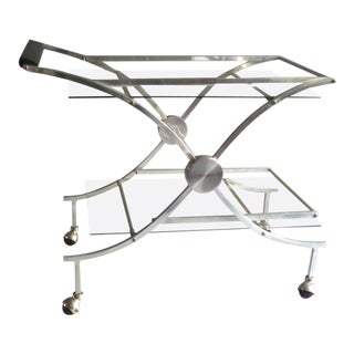 Aluminum, Chrome and Glass Drinks Tea Cart