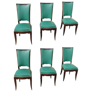 French Art Deco Jules Leleu Style Dining Chairs - Set of 6