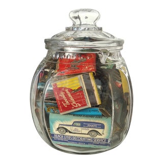 Matchbook Cover Collection in Antique Glass Jar