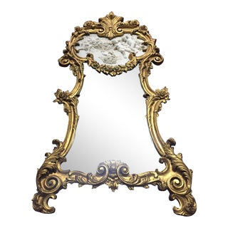 English Giltwood Mirror With Porcelain Panel