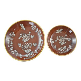 Japanese Red & Gold Porcelain Bowls - a Pair