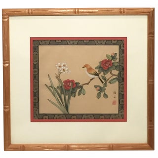 Bamboo Framed Asian Bird Art