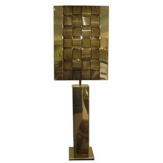 Curtis Jere Brass Lamp With Woven Brass Shade