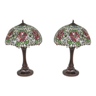 Tiffany Style Vintage French Lamps - Pair