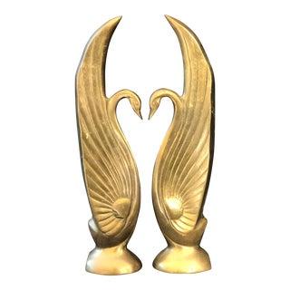 Mid-Century Tall Brass Swans
