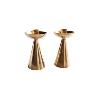 Mid-Century Brass Candlestick Holders - a Pair