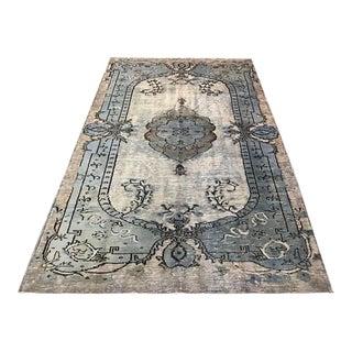 Turkish Anatolian Handmade Blue Wool Floor Rug - 5′3″ × 8′3″