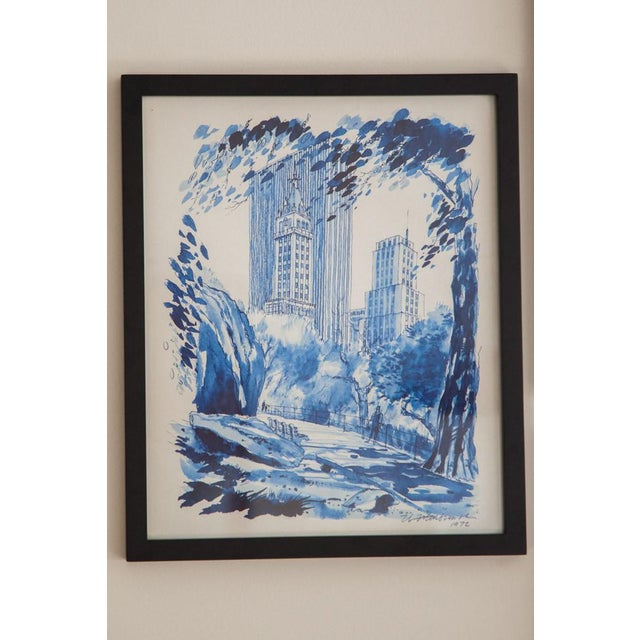 Blue Minimalistic Central Park NYC Lithograph 3 - Image 3 of 6