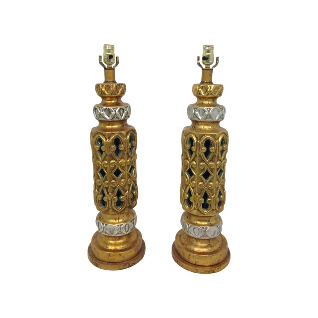 Image of Ornate Gilt Hollywood Regency Lamps - A Pair