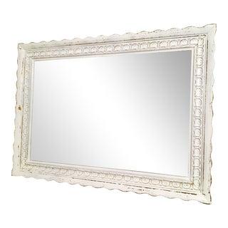 Vintage Bassett Shabby Chic White Painted Wooden Mirror