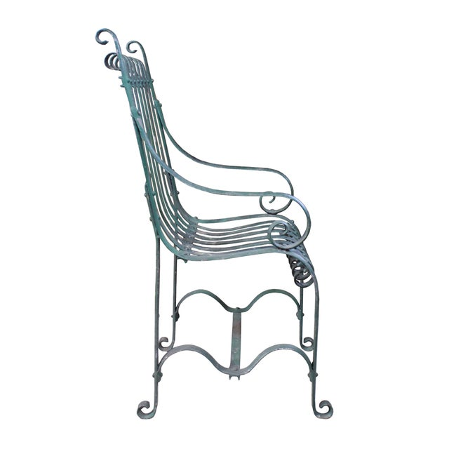 Vintage Green Iron Garden Chair - Image 3 of 4