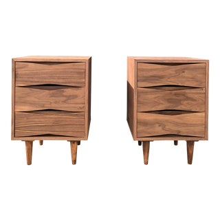 Sculptural Walnut Mid-Century Nighstands - a Pair