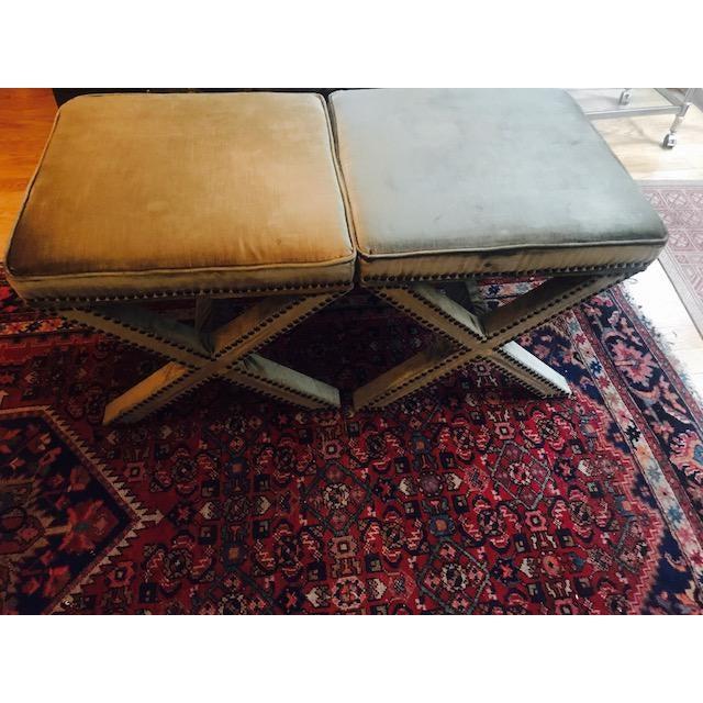 Safavieh Velvet Palmer X Bench, Pair (2 Benches/Stools) - Image 3 of 7