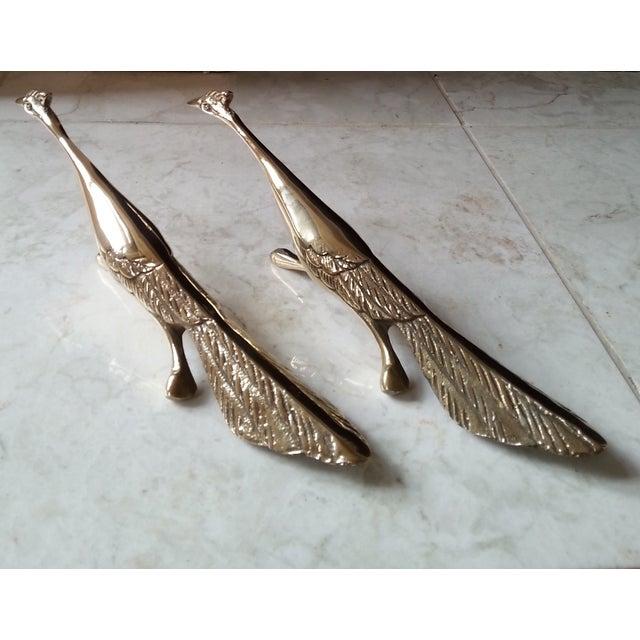 Mid-Century Brass Peacocks - A Pair - Image 4 of 8