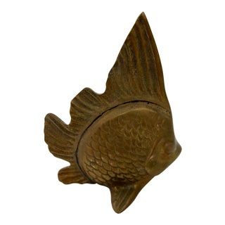 Vintage Brass Beta Fish Paperweight Figurine