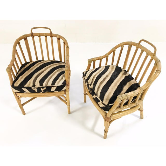 Forsyth Rattan Armchairs with Custom Zebra Hide Cushions - A Pair - Image 6 of 7