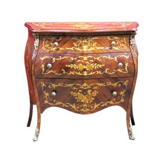 Louis XVI Style Inlaid Bombe Commode