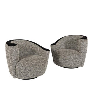 "Vladimir Kagan for Directional Nautilus ""Corkscrew"" Swivel Club Chairs - A Pair"