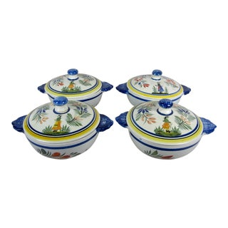 HenRiot Quimper Covered Lug Bowls - S/4