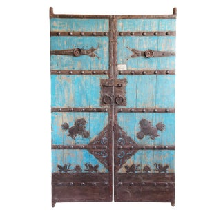 Vintage Turquoise Painted Garden Gate